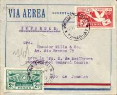(Paraguay) Asuncion to Rio de Janero, bs 28/2, printed matter rated red/blue/grey airmail cover franked 850 (5P65 + 2P85).
