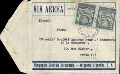 "(Paraguay) Asuncion to Paris, bs 7/4, blue/grey CGA/Aeroposta Argentina cover franked $13.60 for 4g weight (4x$3.40), canc SA Aeroposta cds, carried on the Compagnie Aeroposta  Argentina Asuncion-Toulouse service. Flown on the CGA overseas service from Paraguay to Argentina then ""accelerated"" by the ""plane-ship-plane route via the South Atlantic to Toulouse, then OAT to destination."