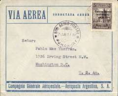 (Paraguay) Asuncion to Washington, no arrival ds, blue/grey CGA/Aeroposta Argentina cover franked $17.00 (5X $3.40). CGA went into liquidation on 31/3/31. This cover was carried on the surviving Asuncion-Buenos Aires route with support from the Argentine PO. Interesting item.