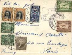 (Ecuador) Panagra, airmail cover Guayaquil to Paris, no arrival ds, via Cristobal 15/2, plain cover franked $2.70, black boxed hs 'Por Avion, By Air Mail/Peso Gms, Porte S/. (ms) 2.66'. Overpaid by 4c. Flown FAM 9 to Cristobal, FAM 5 to Miami, US internal air service to New York, then surface to Europe.
