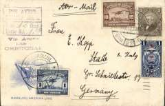 "(Ecuador) Panagra, airmail cover Guayaquil to Stade, Germany, bs 29/3, via Cristobal 15/3, Hamburg-Amerika Line cover franked $1.16, black boxed hs 'Por Avion, By Air Mail/Peso (ms 12) Gms, Porte S/. (ms) 1.10', nice strike violet ""Via Aerea/hasta/Cristobal"" jusqu'a. Flown FAM 9 to Cristobal, then surface to Europe."