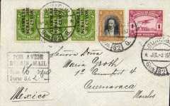 (Ecuador) Panagra, airmail cover Guayaquil to Mexico, bs Cuernavaca 5/7, via Vera Cruz 5/7, plain cover franked $2.70, black boxed hs 'Por Avion, By Air Mail/Peso 16 Gms, Porte S/. (ms) 2.60'.  Flown FAM 9 to Cristobal and FAM 5 to Mexico. Also neat hand drawn map of route