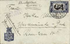 "(Ecuador) Panagra, airmail cover Guayaquill to Stade, Germany, bs 19/10, blue/grey Nord Deutscher Loyd Bremen Line corner covr with company logo franked $2.00, nice strike violet ""Correo Aereo/Panagra"" hs, ms 'Par Avion/Air Mail'."