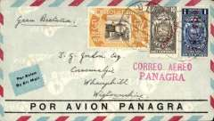 "(Ecuador) Panagra, airmail cover Quito to Scotland, no arrival ds, red/blue/pale blue PANAGRA company cover franked $2.06, fine strike red ""Correo Aereo/Panagra"" hs."
