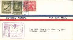 (Ecuador) Panagra F/F Quito, Ecuador to Ipiales, Colombia, b/s, airmail cover franked $2.90, nice strike violet framed flight cachet, uncommon. Small hand drawn map in included with this item