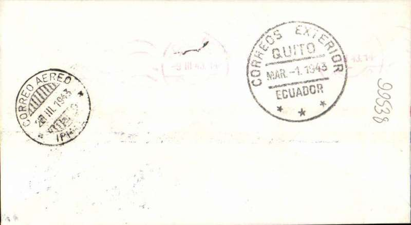 (Ecuador) Panagra F/F Quito, Ecuador to Ipiales, Colombia, b/s, airmail cover franked $2.90, nice strike violet framed flight cachet, uncommon. Small hand drawn map in included with this item. Scarce