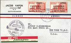 (Ecuador) Celebrating Panagra's 27 year role in Ecuador, Quito-New York, no arrival ds, airmail cover franked $1.80, nice strike black circular commemorative cachet, red/white/green 'Via Panagra' airmail etiquette.