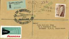 (Ecuador) Celebrating Panagra's 30th anniversary of service to the Americas, registered (label) cover Quito to London, no arrival ds, franked $3.00, nice strike black oval commemorative cachet, uncommon /black 'Panagra - Radar' vignette.