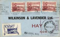"(Australia) Internal airmail, Melbourne to Hay, no arrival ds, commercial cover franked 4 1/2d, black boxed ""Forwarded By Air Mail"" cachet, Ships mail Room/Melbourne/2 JE 27 cds, blue/white 'Angel' vignette."