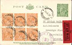 """(Australia) Internal airmail, Normanton to Sydney, 20/7 arrival ds on front, 1d PSC with additional KGV block of 6 orange 1/2d, canc Normanton single ring cds's, first day of use of Qantas  black/red """"See/By Air Mail/Western Queensland"""" etiquette rated $100AD on cover by Frommer. Francis Field authentication hs verso."""