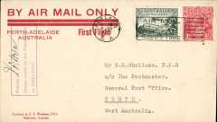 (Australia) F/F Adelaide to Perth, no arrival ds, red/cream 'By Air Mail Only/Perth-Adelaide/First Flight' souvenir cover franked 4 1/2d,  Western Australian AW. No b/s's were applied to ordinary covers, see Eus 136.