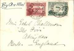 """(Australia) Mornington to England, first acceptance of UK mail for carriage on the F/F Adelaide to Perth leg of Australian internal air mail service, ms """"By Air Mail"""", plain cover franked 4 1/2d, Western Australian Airways. t Perth transferred to P&O steamer for carriage by sea to England via Colombo, Bombay, Aden, Suez C anal and Gibraltar."""