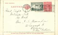 "(Australia) F/F Adelaide to Perth, no arrival ds, 1 1/2d letter card with additional 3d air,  ms ""First Flight/Adelaide-Perth/Air Mail"",Western Australian AW. No b/s's were applied to ordinary covers, see Eus 136."