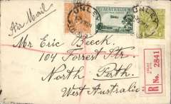 """(Australia) Unley to North Perth for carriage on F/F Adelaide to Perth, bs 1/6, reg (label) cover franked 7 1/2d, ms """"Air Mail"""",Western Australian AW. No b/s's were applied to ordinary covers, see Eus 136."""