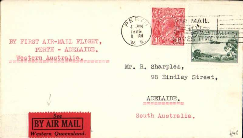 "(Australia) W.A.Airways Ltd, first flight Perth to Adelaide, no arrival ds, plain cover franked 4 1/2d, canc Perth 4th JUNE, 1929, red/black ""See/By Air Mail/Western Queensland"" vignette, typed ""By First Air Mail Flight/Perth-Adelaide"". This flight was scheduled for 2nd June, but was delayed until 4th June when but a small portion of the eastern mails was taken by a small plane to Kalgoorie. The bulk of the intended eastern F/F mail was flown to Adelaide on June 5th. This particular cover is one of the few carried on June 4th."