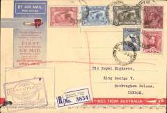 "(Australia) Melbourne to England, no arrival ds (only a few were b/s in London, see Eustis #222), carried on the first All Australian Airmail to England, franked 1/5d inc SG 121, 122 and 139, special violet winged"" cachet, reg (label) souvenir greetings cover 19x12cm. Plane crashed at Alor Star, then carried by Kingsford Smith to London."