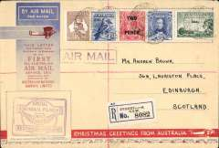 "(Australia) Sydney to Scotland, no arrival ds, (only a few were b/s in London, see Eustis #222), carried on the first All Australian Airmail to England, franked 1/4 1/2d, special violet winged"" cachet, reg (label) souvenir greetings cover 19x12cm. Plane crashed at Alor Star, then carried by Kingsford Smith to London."