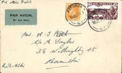 (New Zealand) Air Travel survey flight, Rotorua to Hamilton, bs 10/12, franked 3d air + 1d,  Air Mail Society of NZ Expert Committee Authentication hs verso.