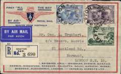 """(Australia) Return of the first Imperial Airways experimental flight England-Australia, Grafton/Sydney to London, bs Norwood 15/5, reg (label) souvenir """"All The Way"""" cover with IAW winged logo and route details, franked 2/2d inc SG 121,122,123 and 118 block of 4, official violet F/F cachet verso, ANA/Qantas/Imperial Airways. Good franking and in fine condition."""