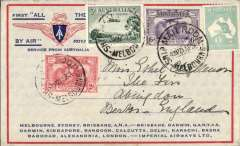 "(Australia) Return of the first Imperial Airways experimental flight England-Australia, Melbourne London, no arrival ds, souvenir ""All The Way"" cover with IAW winged logo and route details, franked 1/11d inc SG 123 4, official violet F/F cachet verso, ANA/Qantas/Imperial Airways."