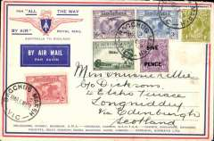 """(Australia) Return of second experimental flight England-Australia, Bacchus Marsh to London, bs 5 Jun 31,  franked 1/11d inc SG 120, 122, 123 on printed """"All The Way"""" cover with IAW winged logo,  ANA, Qantas, Imperial Airways."""