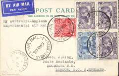 "(Australia) Return of second experimental flight England-Australia, Sydney to London, nice strike Moorgate/5 Jun 312 arrival cds on front,  franked 1/11d inc SG 122 and 123 x3 (Cat £44 used) on plain PC, typed ""By Australian-England/Experimental Air Mail"",  ANA, Qantas, Imperial Airways."