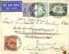 (Australia) Return of second experimental flight England-Australia, Melbourne to London, bs Huddersfield 5/6, plain cover addressed to HMS Excellent, franked 1/11d, canc Leyburn cds, Qantas, Imperial Airways.
