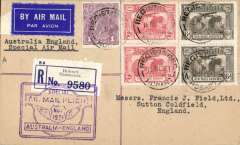 "(Tasmania) Hobart to Sutton Coldfield, bs 17/12, one of a small minority of mail carried the full length of the first All Australian Airmail from Tasmania to England,  registered (label) red/blue/cream cover franked 1931 Kingsford Smith 2d x2 and 6d 'Air Mail Service' x2 and 1d, special framed violet ""winged"" flight cachet. Plane crashed at Alor Star, then carried by Kingsford Smith to London. Attractive item in fine condition, and unusual origin.	 Francis Field authentication hs verso."