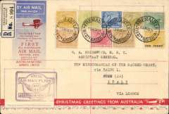 """(Australia) F/F Fremantle, West Australia to Rome, bs 18/12, via Milan Ferra Raccom 17/12/31, carried on the first All Australian Airmail to England, souvenir """"Christmas Greetings from Australia"""" cover, 19x12cm, franked entirely with Western Australian State 'Colonial' stamps, including 1/2d and 1d from the 1885 set, and thus proving their acceptability for overseas airmail use some 30 years after issue. The plane crashed at Alor Star, and was then carried by Kingsford Smith to London."""