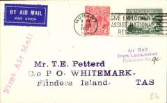 (Australia) F/F Launceston to Flinders Island, bs Whitemark 7/6, plain cover franked 5d canc Hobart 4/6 cds, verso Launceston 7/6 and Whitemark 7/6 postmarks, red straight line flight cachet. Flown by L.Johnson in a Desutter - Miss Flinders.