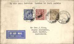 "(GB External) Kingsford Smith's return flight, England to Australia,"" All the Way"" Christmas and New Year flight, London to Port Darwin, bs 19/1/1932, plain cover franked 1/5 1/2d, canc London FS/Air Mail cds."