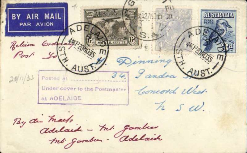 (Australia) Adelaide Airways Ltd, F/F Adelaide to Mount Gambier, bs 26/11, plain airmail etiquette cover franked 1/1d inc  6d Air 'Air mail Service' opt. Small mail.
