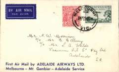 """(Australia) Adelaide Airways Ltd, F/F Melbourne - Mount Gambier - Adelaide, bs 27/11, Vacuum Oil Company cover printed """"First Air Mail by Adelaide Airways/Melbourne-Mt. Gambier-Adelaide Service"""", franked 5d."""