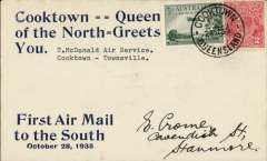 (Australia) McDonald Air Services Ltd, F/F Cooktown to Townsville, bs 29/10, souvenir blue/cream cover  with large print details of flight, franked 3d air & 2d,  Small mail.