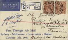 (Australia) Katoomba to Launceston, bs 8/10, via Sydney 3/10, carried on Holyman's Airways F/F Sydney-Canberra-Melbourne-Launceston-Hobart, registered (label) cover franked 10d, canc Katoomba/2 Oct 35 cds, also TPO 7 West NSW 2nd and 3rd Oct 35 cds's . Signed by both pilots CH Scott and PL Taylor.