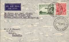 (Australia) Brisbane to Hobart, bs 8/10, via Sydney 3/10, carried on Holyman's Airways F/F Sydney-Canberra-Melbourne-Launceston-Hobart service, airmail cover franked 5d, canc Brisbane/5 Oct 35 cds, typed 'By First Air Mail Flight/Brisbane to Hobart via/Sydney-Canberra and -Melbourne.