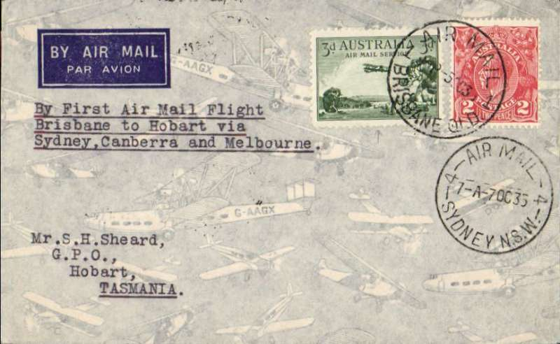 (Australia) Holyman's Airways F/F BRISBANE TO HOBART, bs 8/10, via Sydney 3/10,  airmail cover franked 5d, canc Brisbane/5 Oct 35 cds, typed 'By First Air Mail Flight/Brisbane to Hobart via/Sydney-Canberra and -Melbourne.