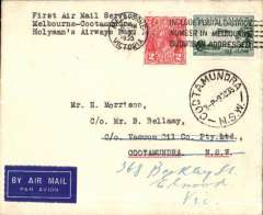"(Australia) Melbourne to Cootamundra, 9/10 arrival ds on front, carried on Holyman's Airways F/F Sydney-Canberra-Melbourne-Launceston-Hobart service, airmail etiquette cover franked 5d, canc Melbourne/5 Oct 35 cds, typed 'First Air Mail Service/Melbourne-Canberra/Hollymans Airways"".Contains an original note inside confirming carrier and date of arrival."