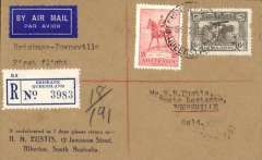 "(Australia) New England Airways Ltd, F/F Brisbane-Townsville, bs 16/9, registered (label) Eustis corner cover franked 6d Air Mail Service (SG 139) + 2d,/s, typed ""Brisbane-Townsville/First Flight""."