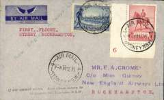 "(Australia) New England Airways Ltd, F/F Sydney to Rockhampton, b/s 5/9, carried on the F/F Brisbane-Townsville service, imprint blue/grey winged ""Yes"" By Air Mail Crome cover franked 5d, typed 'First Flight/Sydney Rockampton', attractive blue/red/black New England Airways vignette verso."