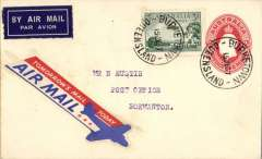 """(Australia) New England Airways Ltd/Mc Donald Air Service, F/F Burketown to Normanton, bs 16/6, 2d PSE with additional 3d air, attractive red/white/blue """"Tomorrow's Mail Today"""" airmail etiquette."""