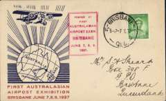 (Australia) First Australasian Airpost Exhibition Brisbane cds, red/white/blue souvenir cover franked 1d on first day, canc Brisbane/7 Je 37, red framed exhibition cachet.