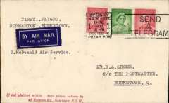(Australia) New England Airways Ltd/Mc Donald Air Service, F/F Normanton to Burketown, bs 16/6, airmail etiquette cover franked 5d, Posted in Sydney on 13/6, reaching Normanton and Burketown on 22/6, via Cloncurry 16/6.