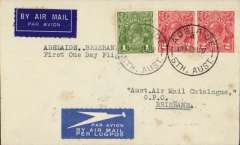 (Australia) Australian National Airways/Airlines of Australia Ltd, F/F Adelaide to Brisbane, bs 31/8, airmail etiquette cover franked 5d.