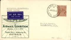 "(Australia) Australian National Airways F/F Melbourne to Naracoorte, bs 30/8, Melbourne Airmail Exhibition Oct 5-7 souvenir cover addressed to Eustis cover franked 5d, typed "" Adelaide..Naracoorte/First Flight"". Only 21 flown."