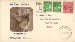 (Australia) WR Carpenter Airlines, F/F Australia to Port Moresby 31/5, uncommon brown/cream 'Koala Bear' Air Mail Service/Australia/Papua New Guinea souvenir cover franked 4d tied Melbourne machine cancel, also Sydney 30/5 cds.
