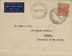 (Australia) WR Carpenter Airlines, first official flight Australia-New Guinea-Australia, Brisbane to Rabaul, bs 1/6, plain cover franked 5d, canc ydney 30/5.