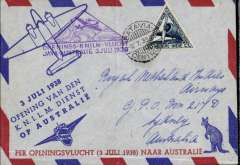 (Australia) KNIKM F/F Java to Australia, Batavia to Sydney, bs 5/7, red/blue/grey souvenir cover franked special air flights triangular 30c, canc Batavia cds, fine strike violet triangular flight cachet. Ironed vertical crease.