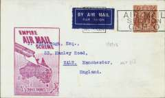 """(Australia) First """"All Up"""" Flying Boat Service, flown Sydney to England, no arrival ds, franked 5d, fine strike red framed 'Empire Air Mail Scheme' cachet. Service suspended 3 weeks later."""