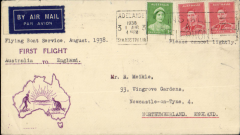 """(Australia) First """"All Up"""" Australia to England, flown Adelaide to London, no arrival ds, attractive violet/cream souvenir cover with  outline of Australia and rising sun franked 3d, typed """"Flying Bat Service, August 1938/ustralia to England"""". Service suspended 3 weeks later."""